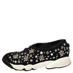 Dior Black  Mesh Crystal Embellished Fusion Sneakers Size 38.5