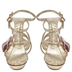 Dior Leather Flower Embellished Strappy Sandals Size 41