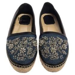 Dior Blue/Black Denim And Leather Embellished Espadrilles Size 38