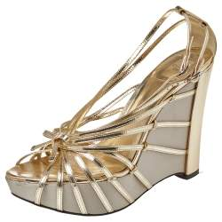 Dior Gold Patent Leather Strappy Platform Wedge Sandals Size 41