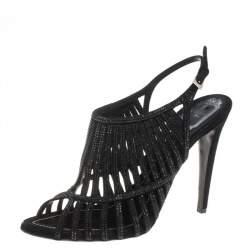 Dior Black Suede Crystal Embellished  Cage Sandals Size 41