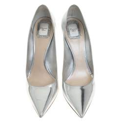 Dior Metallic Silver Leather Pointed Toe Pumps Size 41