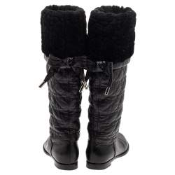 Dior Black Cannage Leather Ice Fur Cuffed Knee Length Boots Size 37