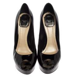 Dior Black Patent Leather Platform Peep Toe Pumps Size 39