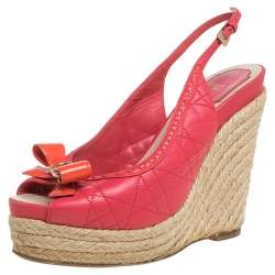Dior Pink Cannage Leather Wedge Espadrilles Slingback Sandals Size 37