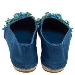 Dior Blue Mesh Espadrille Slip On Ballet Flats Size 39