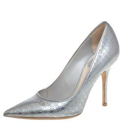 Christian Dior Silver Leather Slip On  Pumps Size 35