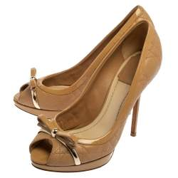 Dior Beige Cannage Patent Leather And Leather Bow Peep Toe Pumps Size 37