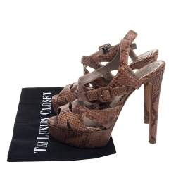 Dior Brown Python Strappy Platform Sandals Size 35