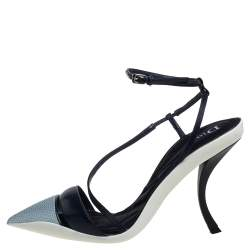 Dior Grey//Black Leather And Fabric Def Cruise Pointed Toe Pumps Size 39
