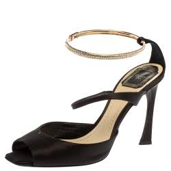 Dior Black Satin And Crystal Ankle Strap Cuff Sandals Size 40