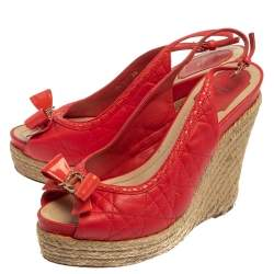 Dior Red Leather Wedge Slingback Sandals Size 39
