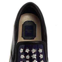 Dior Purple/Black Patent And Leather Flower Embellished Slip On Sneakers Size 38