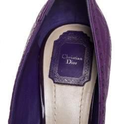 Dior Purple Leather Cannage Bow Peep Toe Pumps Size 40
