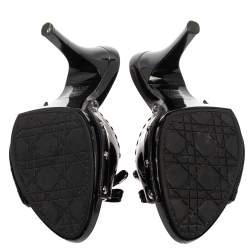 Dior Black Patent Leather Embellished Clog Slide Sandals Size 38