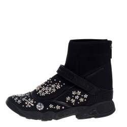 Dior Black Mesh And Fabric Embellished Ankle Length Sneaker Boots Size 39.5
