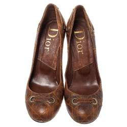 Dior Brown Leather Logo Embellished Slip On Pumps Size 40