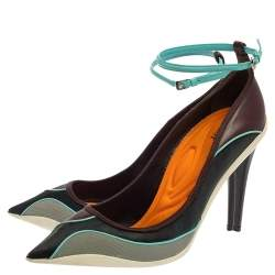 Dior Multicolor Mesh And Leather Pointed Toe Ankle Strap Pumps Size 40