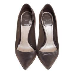 Dior Iridescent Brown Suede Cherie Pointed Toe Pumps Size 34.5