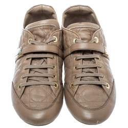 Dior Beige Cannage Leather Low Top Sneakers Size 40