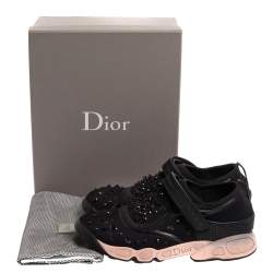 Dior Black Fabric And Mesh Neoprene Fusion Embellished Low Top Sneakers Size 40