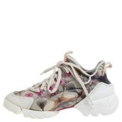Dior Multicolor Neoprene And Transparent PVC D Connect Kaleidoscopic Sneakers Size 36