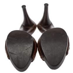 Dior Brown Leather Platform  Sandals Size 40.5
