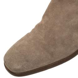 Dior Brown Suede Slip On Knee Length Boots Size 37.5