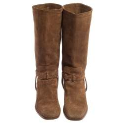 Dior Brown Suede Knee Length  Boots Size 37