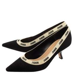 Dior Black/White Fabric J'Adior Embroidered Ribbon Pumps Size 39.5