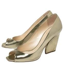 Dior Metallic Gold Leather Peep Toe Pumps  Size 39