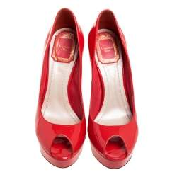 Dior Red Patent Leather Peep Toe Platform Pumps Size 36.5