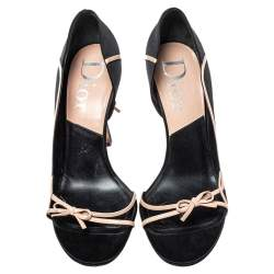Dior Black Satin And Leather Open Toe Bow Sandals Size 39