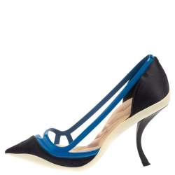 Dior Two Tone Blue Patent Leather And Satin Pointed Toe Curved Heel Pumps Size 39