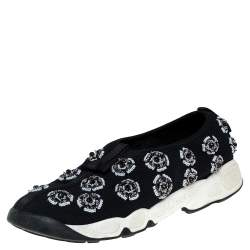 Dior Black Mesh Fusion Embellished Slip On Sneakers Size 39
