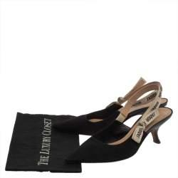 Dior Black Leather And Canvas Slingback  J'Adior  Pumps Size 41