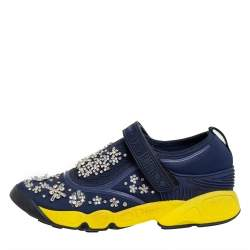 Dior Blue/Yellow Rubber And Fabric Fusion  Sneaker Size 37.5