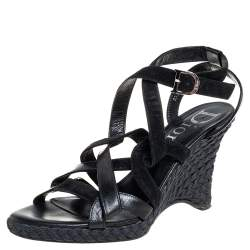 Dior Black Suede And Leather Wedge Ankle Strap Sandals Size 39