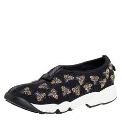 Dior Black Bee Embellished Mesh Fusion Slip On Sneakers Size 37.5