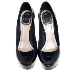 Dior Navy Blue Patent Leather Metal Cannage Heel Peep Toe Platform Pumps Size 38