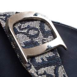 Dior Blue Canvas Logo Detail Slide Sandals Size 37