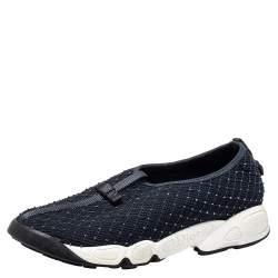 Dior Navy Blue Mesh Embellishment Fusion Sneaker Size 39