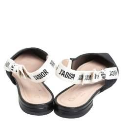 Dior Black Fabric J'Adior Pointed Toe Slingback Flats Size 36