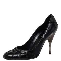 Dior Black Leather Round Toe Pumps Size 40