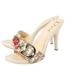 Dior Beige Canvas Logo Detail Slide Sandals Size 39.5