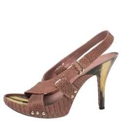 Dior Mauve Pink Python Cross Strap Slingback Platform Sandals Size 39.5