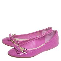 Dior Pink Patent Leather Bow Ballet Flats Size 36