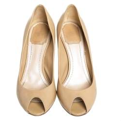 Dior Beige Patent Leather Peep Toe Cannage Heel Pumps Size 36.5