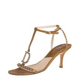 Dior Metallic Gold Leather Crystal Embellished T-strap Sandals Size 39.5