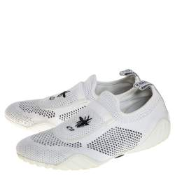 Dior White/Black Stretch Knit Fabric D-Fence Slip-On Sneakers Size 37.5